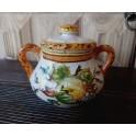 Kleines Glas mit Deckel aus dekorierter toskanischer Keramik