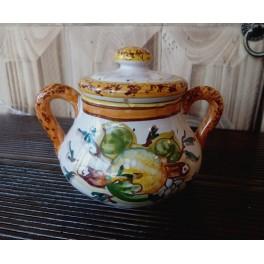 Barattolo con coperchio in ceramica decorata
