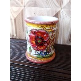 Contenitore in ceramica decorato con Papavero