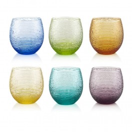 MULTICOLOR Set 6 water glasses 25cl - assorted colours (IVV)