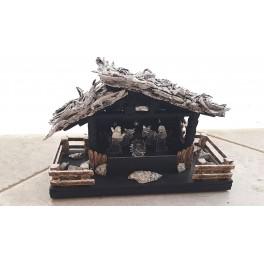 Presepe in legno e argento