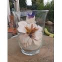 Composizione vaso con fiore in pelle