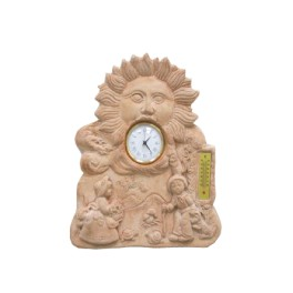 Clock in terracotta with thermometer