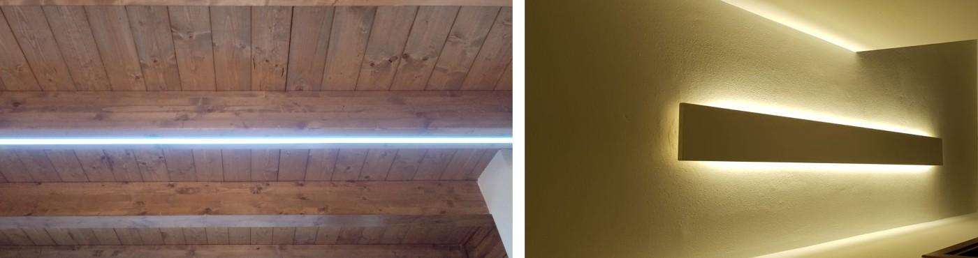 Tavola in legno con profilo e striscia led